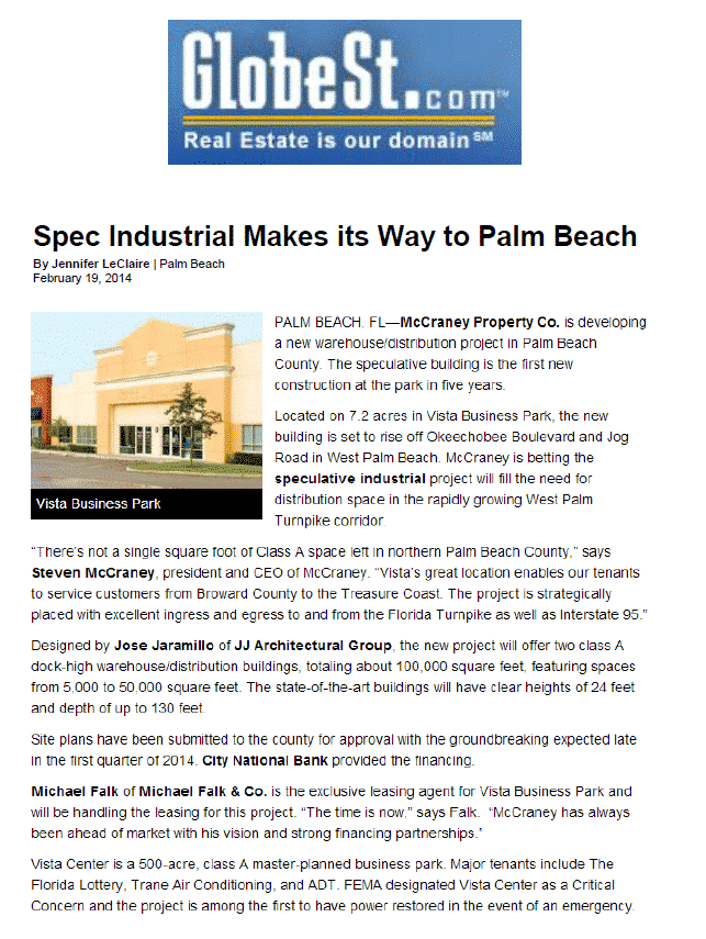 Spec industrial makes its way to Palm Beach - McCraney