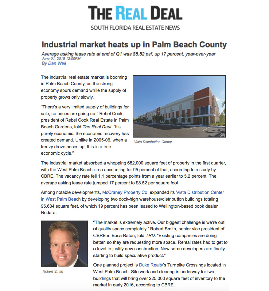 The Real Deal - Industrial Market Heats up in Palm Beach County - 6.1.15_Page_1