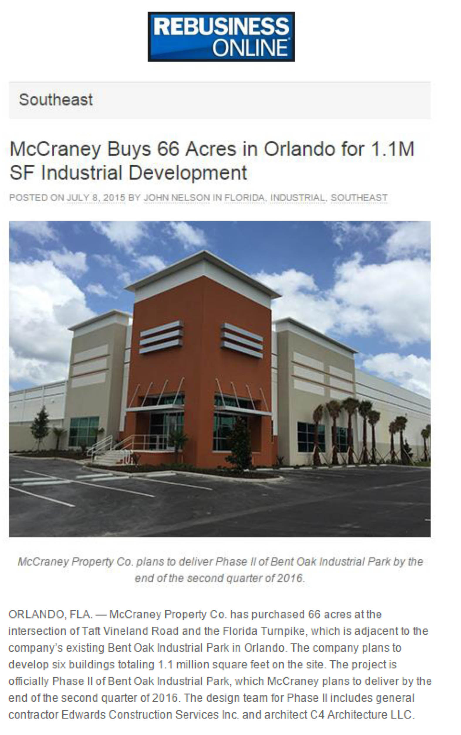 Southeast Real Estate Business - McCraney Buys 66 Acres in Orlando for 1.1M SF Industrial Development - 07.08