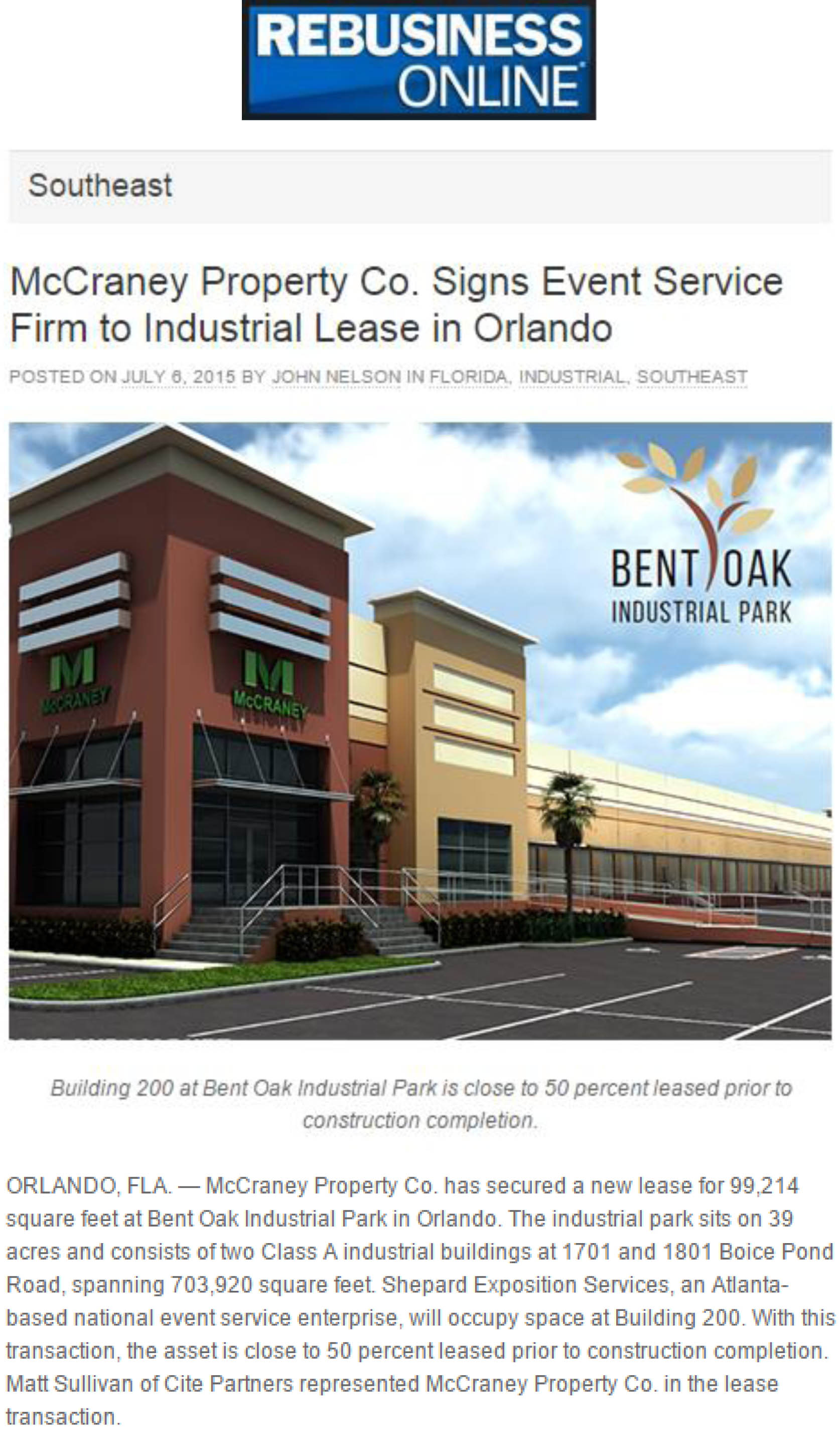 Southeast Real Estate Business - McCraney Property Co. Signs Event Service Firm to Industrial Lease in Orlando - 07.06