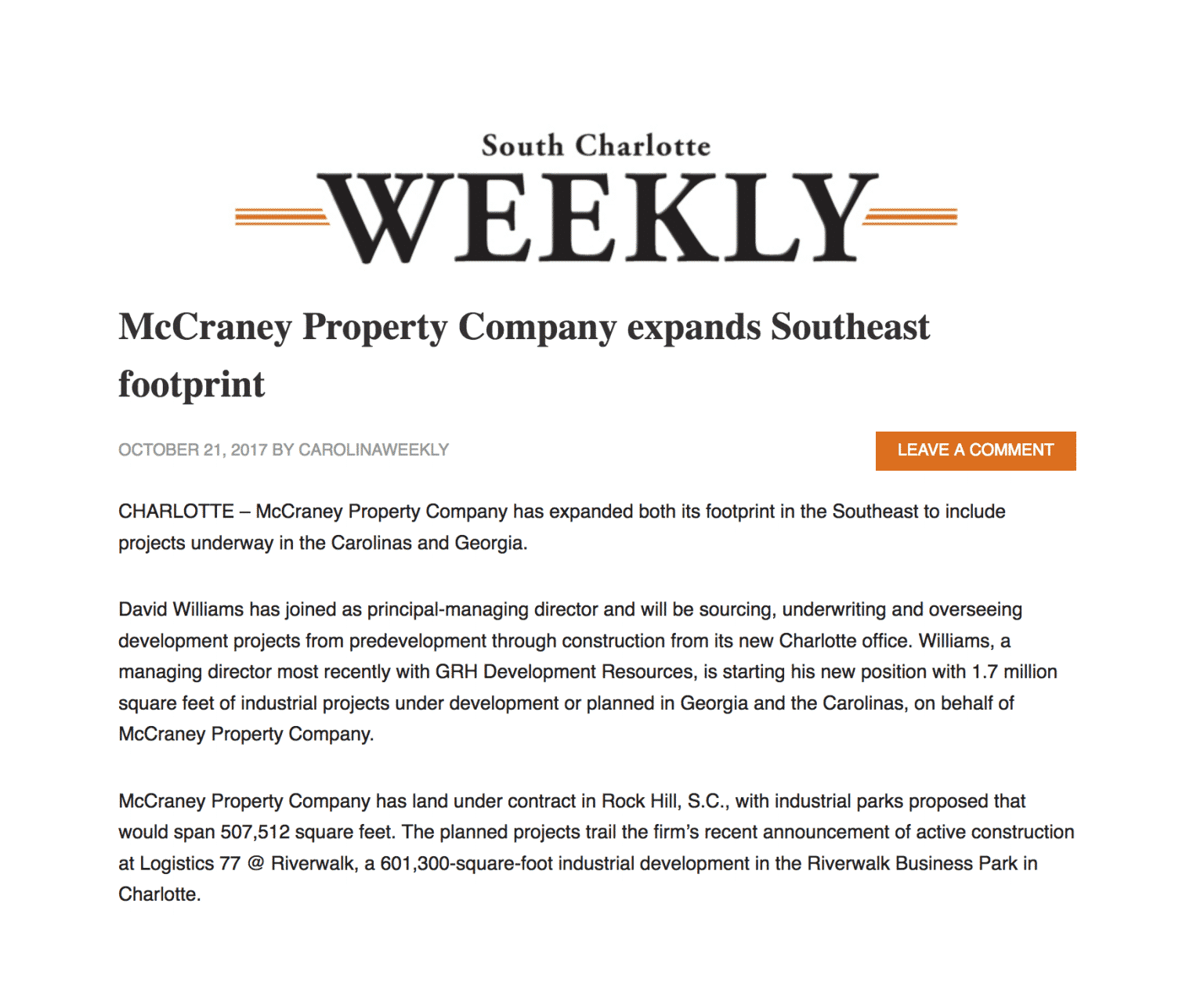 South Charlotte Weekly - MPC expands Southeast footprint, David Williams joins - 10.21.17.1